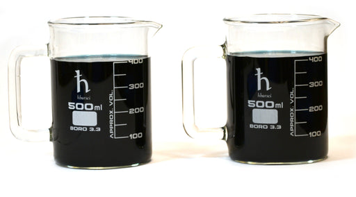 500mL Beaker Mug, Borosilicate Glass, 50mL Graduations - Set of 2
