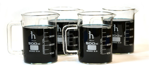 500mL Beaker Mug, Borosilicate Glass, 50mL Graduations - Set of 4