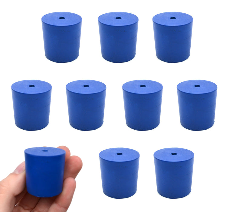 Neoprene Stopper, 1 Hole - Blue, Size: 29mm Bottom, 31mm Top, 32mm Length - Pack of 10