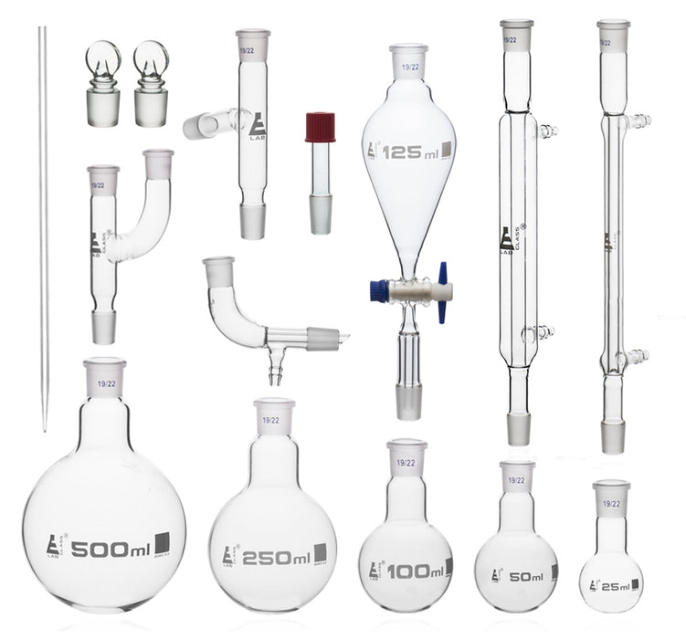 Distillation Kit - Organic Chemistry Set with Size 19/22 Interchangeable Joints - 15 Pieces with Hard Storage Briefcase - Borosilicate Glass - Eisco labs