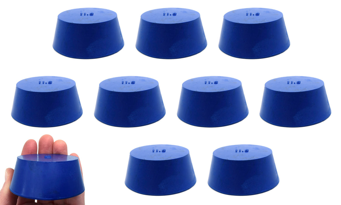 10PK Neoprene Stoppers, Solid - ASTM - Size: #11.5 - 50mm Bottom, 63mm Top, 25mm Length