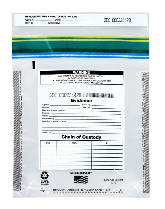 "100pk Evidence Bags, 12"" x 16"" - Premium, Level 4 Security Tamper Evident Bags - Self Sealing, Transparent 2.5 Mil Coextruded Polyethylene - SECUR-PAK"
