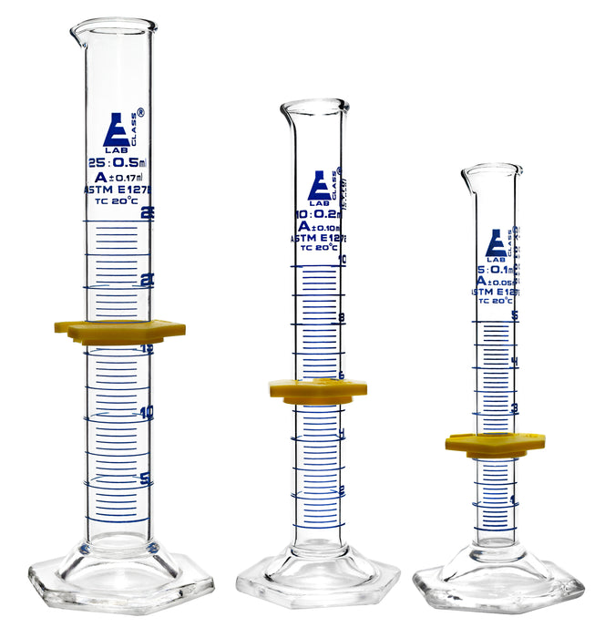 Measuring Cylinders 3 Piece Set - ASTM, Class A - 5ml, 10ml & 25ml - Protective Collars, Hexagonal Base - Blue Graduations - Borosilicate 3.3 Glass - Eisco Labs