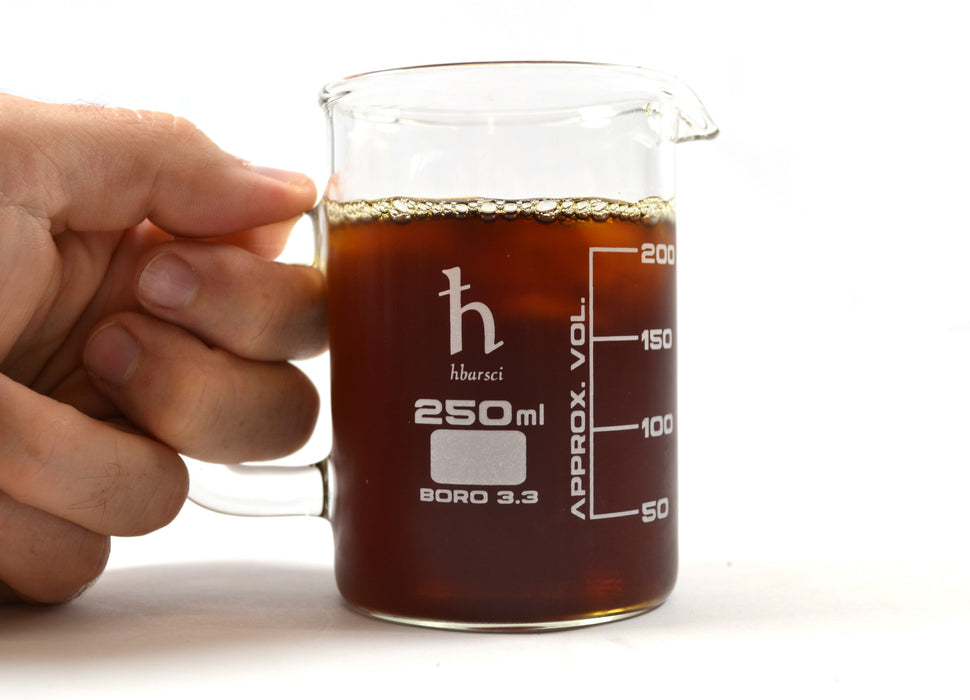 Premium Hand Crafted Beaker Mug, Borosilicate Glass - Tea or Espresso Sized