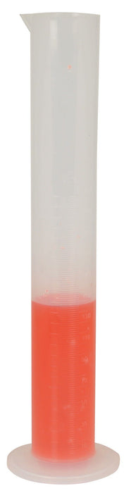 Measuring Cylinder, 250ml - Class B - Polypropylene - Raised Graduations - Round Base