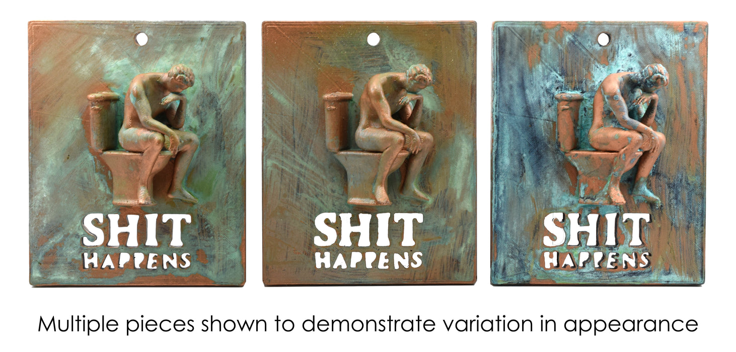 "Sh!t Happens Wall Hanging, 5.75"" x 7"" - Three Dimensional - Aged Patina Painted Plastic - Designed & Printed in the USA - At Home Series by hBAR"