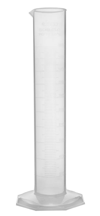 4PK Measuring Cylinder, 500mL - Class B - Polypropylene - Raised Graduations - Octagonal Base