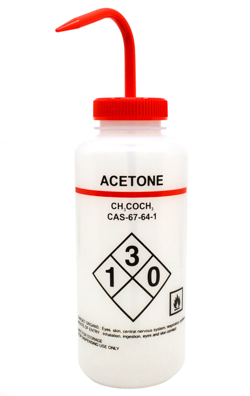 1000ml Capacity Labelled Wash Bottle for Acetone, Self Venting, Low Density Polyethylene - Eisco Labs