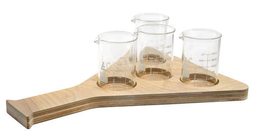 Beer Tasting Flight Tray - Erlenmeyer Flask Design, Wood - Includes 4, Borosilicate 3.3 Glass Beakers, (150ml) - Tray Paintable, Stainable - Designed & Cut in the USA - hBAR at Home Series