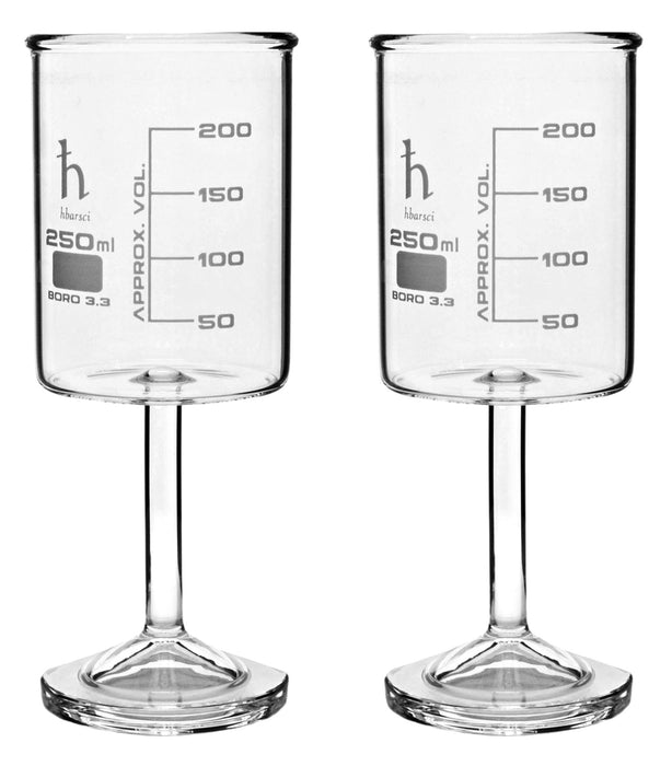 2PK Beaker Wine Glass, 250mL - Borosilicate Glass