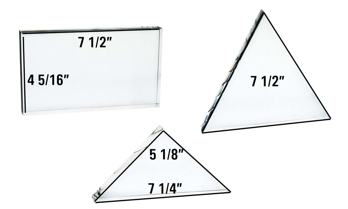 "Set 3 Large Acrylic Blocks for Light and Prism Demonstrations - Rectangle (7.5""x4.3""), Equilateral Triangle (7.5""), Right Isosceles Triangle (7.25"" x 5.1"") - All 0.91""/23mm Thick"