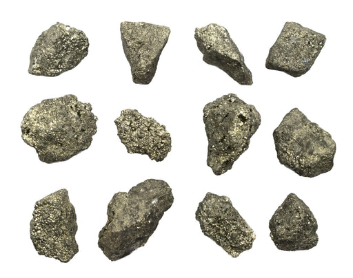 "12PK Raw Pyrite, Mineral Specimens - Approx. 1"" - Geologist Selected & Hand Processed - Great for Science Classrooms - Class Pack - Eisco Labs"