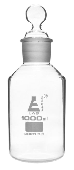 Reagent Bottle, 1000ml - Wide Mouth and Hexagonal Stopper - Borosilicate Glass