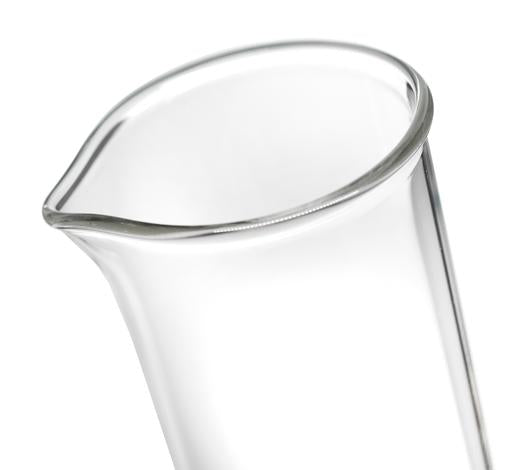 Measuring Cylinder, 25ml - Class B - Protective Collar, Plastic Hexagonal Base - White Graduations - Borosilicate Glass