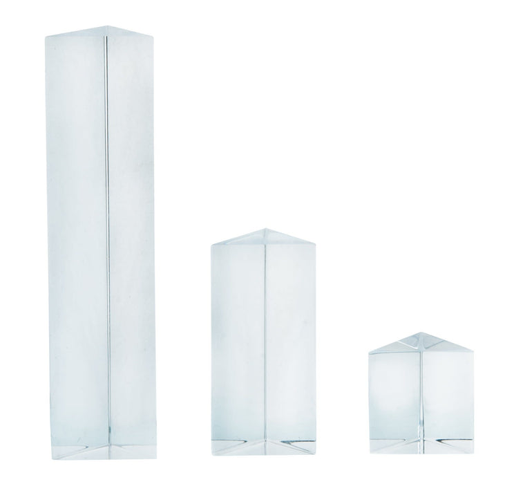 Equilateral Prisms, 3 Piece Set - 25, 50 & 100mm Lengths - Acrylic