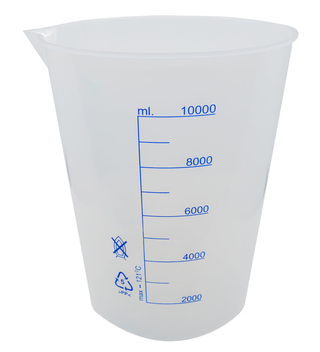 Beaker, 10,000ml - Polypropylene - Screen Printed Graduations - With Spout