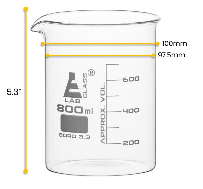 Beaker, 600ml - Low Form - 50ml Graduations - Borosilicate Glass - Eisco Labs