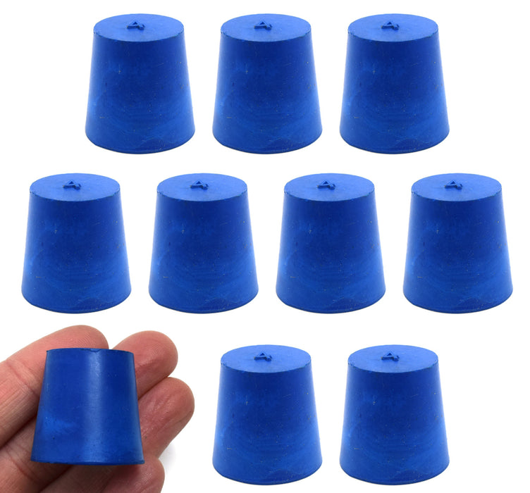 10PK Neoprene Stoppers, Solid - ASTM - Size: #4 - 20mm Bottom, 26mm Top, 25mm Length