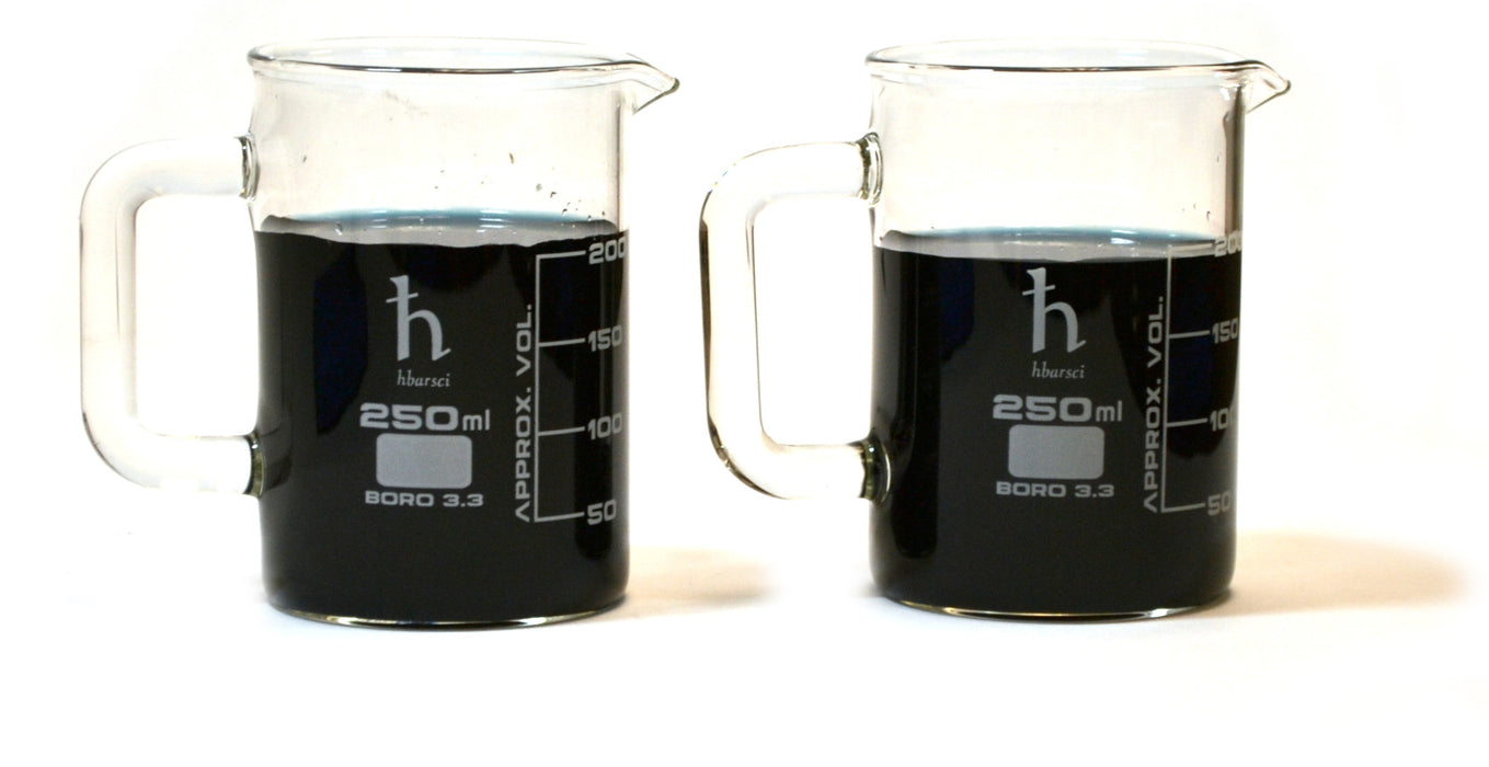 2PK Premium Hand Crafted Beaker Mug - Tea or Espresso Sized - Borosilicate Glass