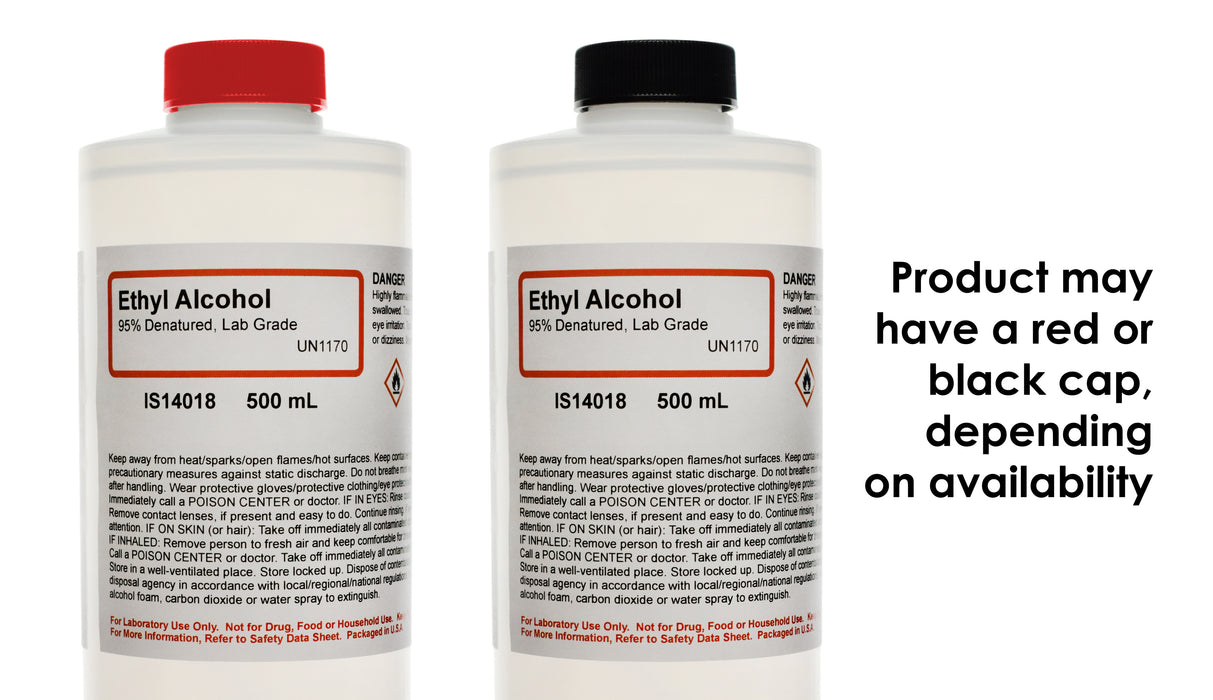 39PK - Lab-Grade Denatured Ethyl Alcohol, 95%, 500mL - Not for Use on Skin