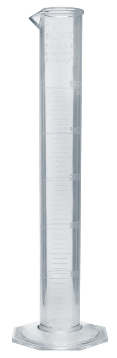 Measuring Cylinder, 50ml - Class A - TPX Plastic - Raised Graduations - Octagonal Base