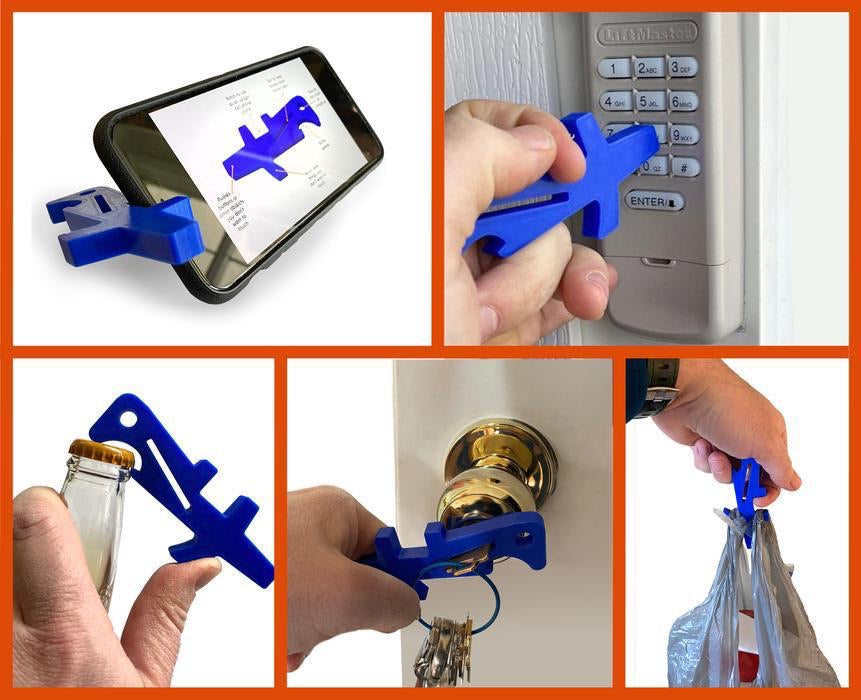 No Touch Key Chain Tool with Bottle Opener - Reduces Physical Contact with Doors, Buttons, Handles & More