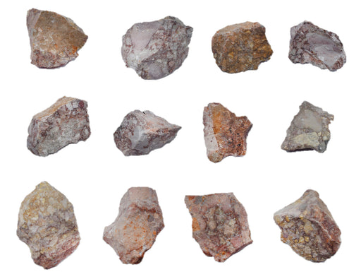 12 Pack - Raw Breccia, Sedimentary Rock Specimens - Approx. 1""