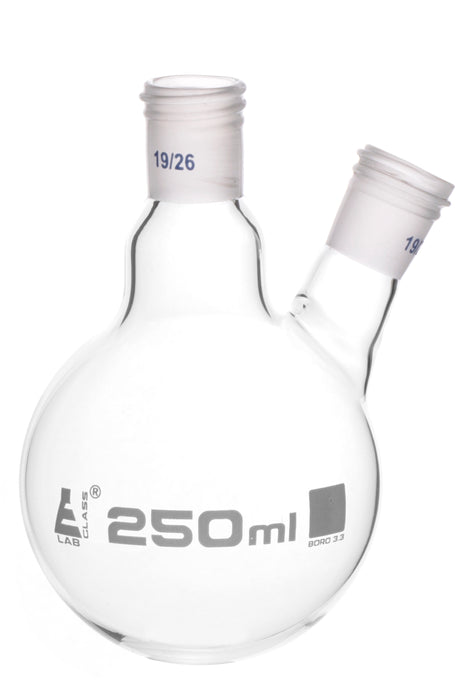 Distillation Flask with 19/26 Joints, 250ml Capacity, Two Necks, Interchangeable Screw Thread Joint, Borosilicate Glass - Eisco Labs