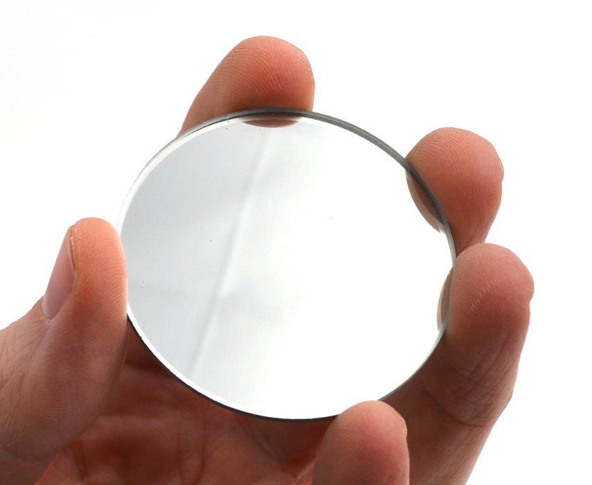 "Round Convex Glass Mirror - 2"" (50mm) Diameter - 300mm Focal Length - 2mm Thick Approx. - Eisco Labs"