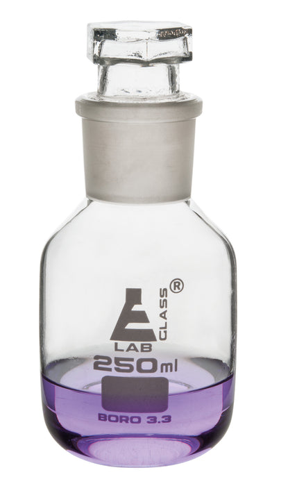 Reagent Bottle, 250mL - Clear - Wide Neck - With Interchangeable Hexagonal Glass Stopper - Borosilicate Glass