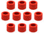 Pack of 10 Threaded Screw Caps, Open - Joint Size 14/23 - Plastic, Red Color - Spare / Additional Part - Eisco Labs