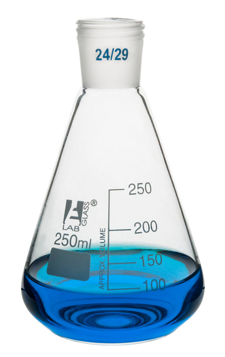 Erlenmeyer Flask with 24/29 Joint, 250ml - 50ml White Graduations - Interchangeable Screw Thread Joint - Borosilicate Glass - Eisco Labs