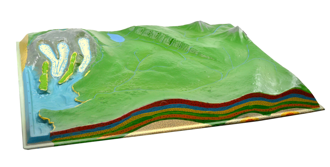 2 Piece Comparative Terrain Landform Models, 23.5 Inch