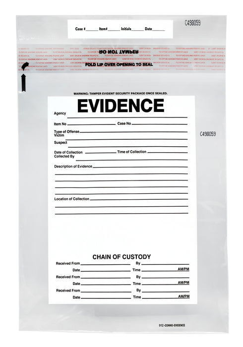 "100pk Evidence Bags, 9"" x 12"" Transparent, Tamper Resistant Closure with Serialized Numbering - Secur-Pak"