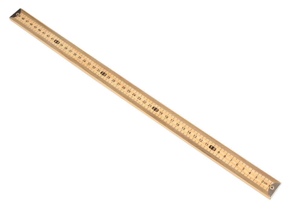 Meter Scale Hardwood, half meter - Horizontal reading with Brass end - Premium