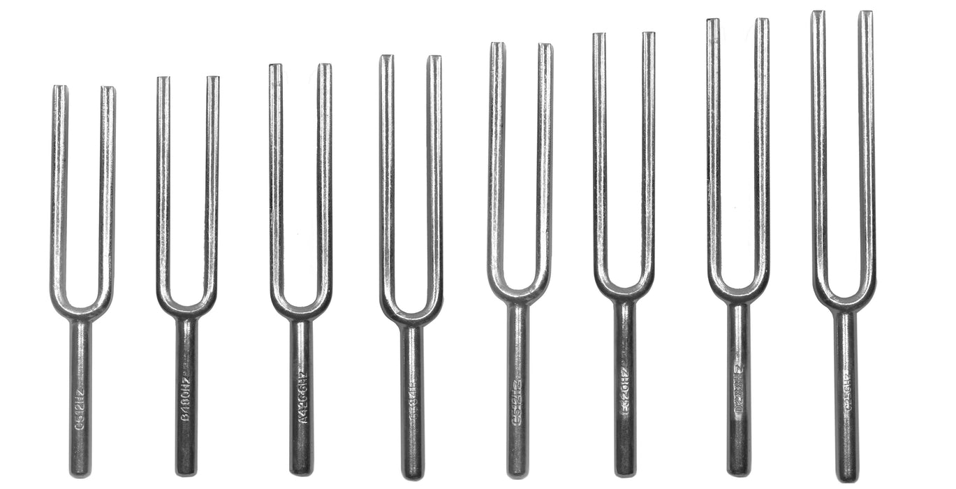 8 Piece Scientific Steel Tuning Fork Set - Scientific Pitch, C4 = 256Hz