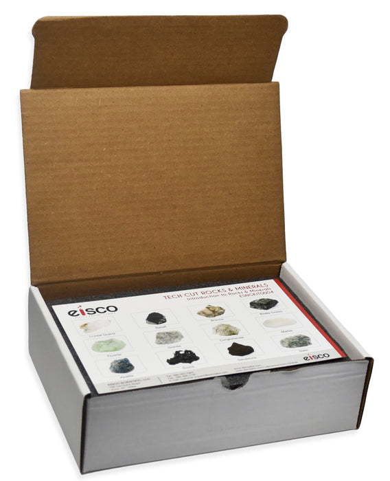 Rock & Mineral Kit, Set of 12 Specimens - Includes Storage Box and Identification Card  - Eisco Labs