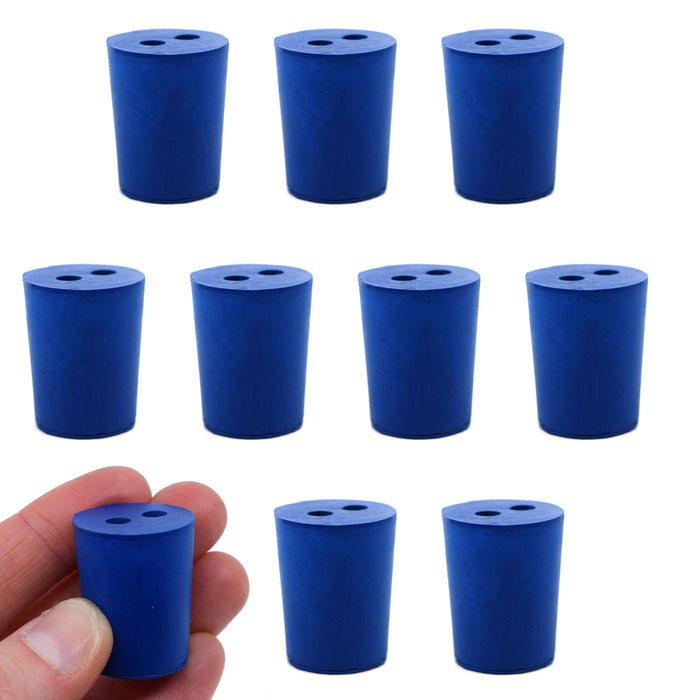 Neoprene Stopper, 2 Holes - Blue, Size: 19mm Bottom, 22mm Top, 28mm Length - Pack of 10