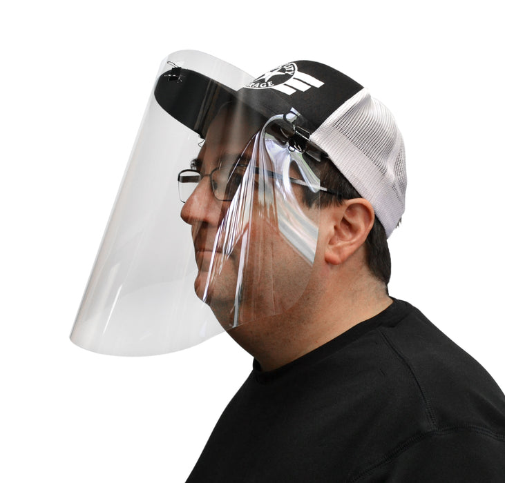 Emergency Temporary Face Shield - Designed to be Clipped to Baseball Cap - Polycarbonate Plastic - 100% Recyclable - Made in the USA
