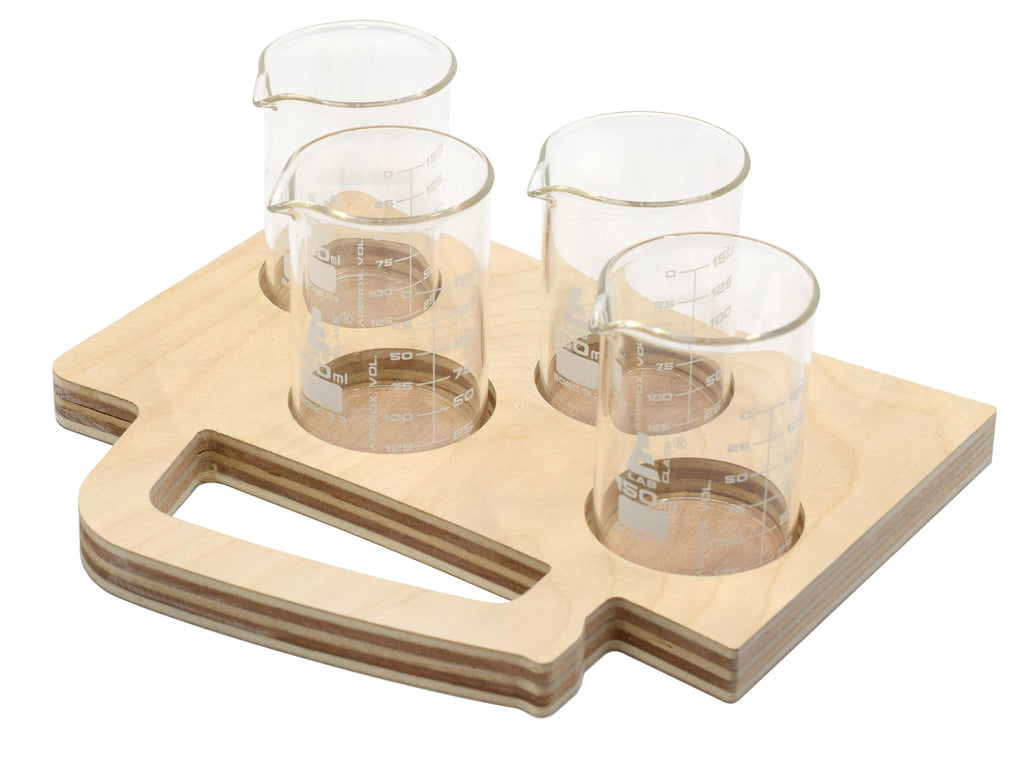 Beer Tasting Flight Tray Beer Mug Shape Wood Includes 4 Borosilicate 33 Glass Beakers 150ml Tray Paintable Stainable Designed Cut In