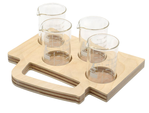 Beer Tasting Flight Tray - Beer Mug Shape, Wood - Includes 4, Borosilicate 3.3 Glass Beakers, (150ml) - Tray Paintable, Stainable - Designed & Cut in the USA - hBAR at Home Series