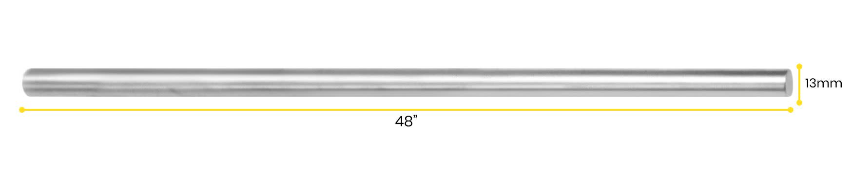 "Retort Stand Rod, 48"" (120cm) - Aluminum - Unthreaded, Round Shaft"