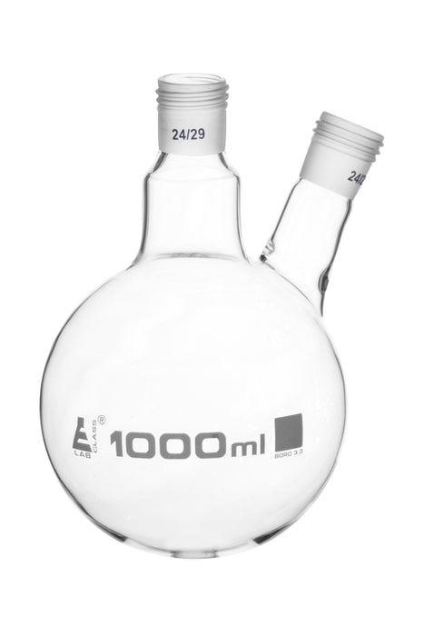 Distillation Flask with 2 Necks, 1000ml Capacity, 24/29 Joint Size, Interchangeable Screw Thread Joints, Borosilicate Glass - Eisco Labs