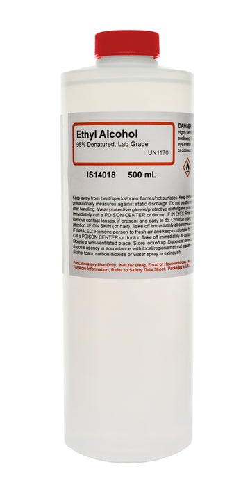 95% Denatured Ethyl Alcohol, 500mL - Lab-Grade - The Curated Chemical Collection