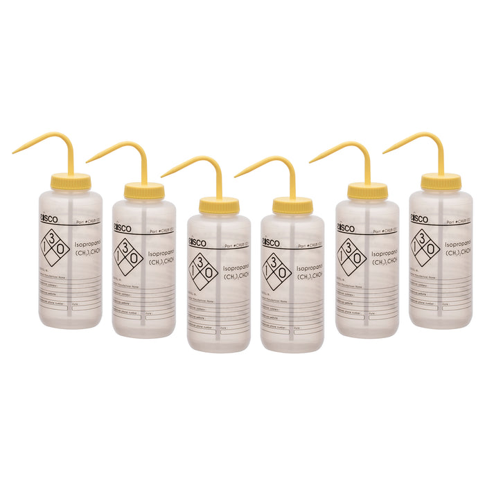 6PK Isopropanol Wash Bottles, 1000ml - Polyethylene - One Color