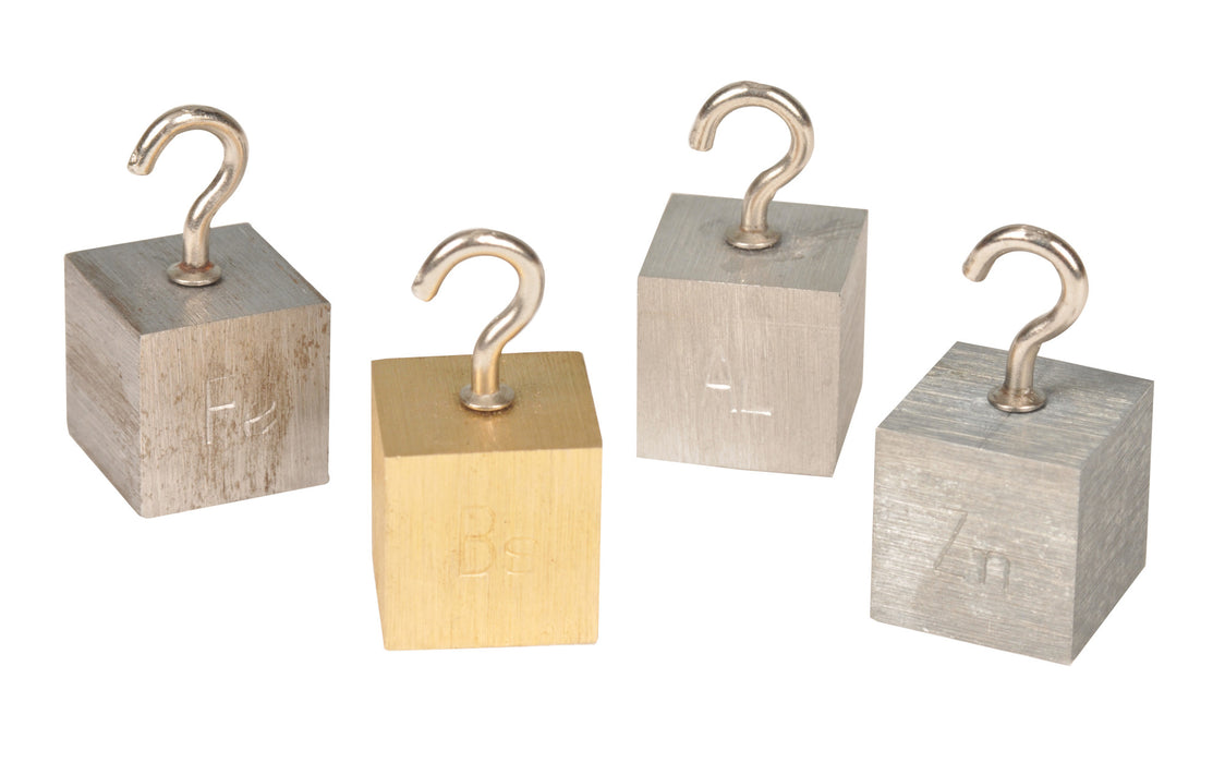 Density Cubes with Hooks - Set of 4 Metals - Brass, Lead, Aluminum & Steel - Eisco Labs