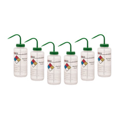 6PK Wash Bottle for Methanol, 1000ml - Labeled with Color Coded Chemical & Safety Information (4 Colors) - Wide Mouth, Self Venting, Polypropylene - Performance Plastics by Eisco Labs