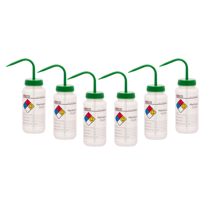 6PK Wash Bottle for Methanol, 500ml - Labeled with Color Coded Chemical & Safety Information (4 Colors) - Wide Mouth, Self Venting, Polypropylene - Performance Plastics by Eisco Labs