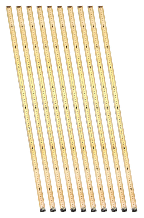 10PK Double-Sided Hardwood Meter Sticks - Metal End Caps - Metric Centimeters