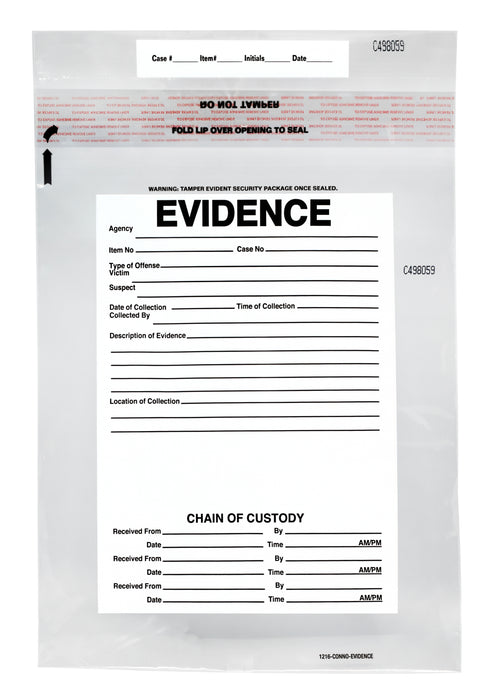 "100pk Evidence Bags, 12""x16"" Transparent, Tamper Resistant Closure with Serialized Numbering - Secur-Pak"
